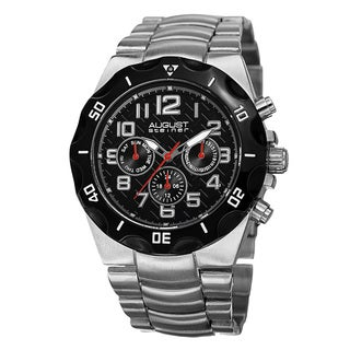 August Steiner Men's Swiss Quartz Multifunction Dual-Time Silver-Tone Bracelet Watch