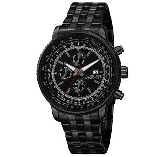 August Steiner Men's Swiss Quartz Multifunction Dual Time Stainless Steel Black Bracelet Watch