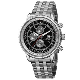 August Steiner Men's Swiss Quartz Multifunction Dual Time Stainless Steel Silver-Tone Bracelet Watch