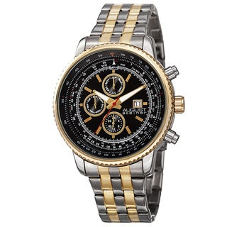 August Steiner Men's Swiss Quartz Multifunction Dual Time Stainless Steel Two-Tone Bracelet Watch