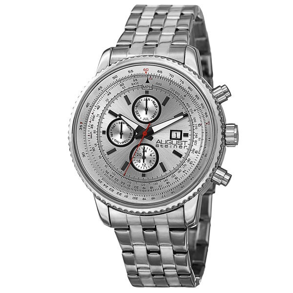 August Steiner Men's Swiss Quartz Multifunction Dual Time Stainless Steel White Bracelet Watch