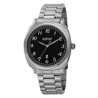 August Steiner Men's Swiss Quartz Arabic Numerals Stainless Steel Silver-Tone Bracelet Watch