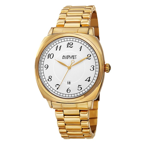 August Steiner Men's Swiss Quartz Arabic Numerals Stainless Steel Gold-Tone Bracelet Watch