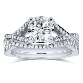 Annello By Kobelli 14k White Gold 1 2 5ct TGW Round Cut Moissanite And Diamond Crisscross Band Bridal Rings Set