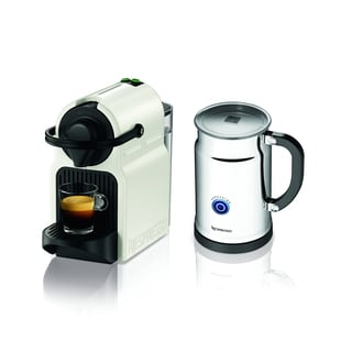 Nespresso Inissia White Espresso Maker with Aeroccino Plus Milk Frother