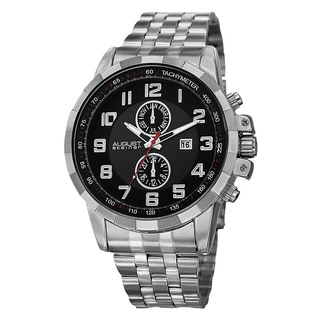 August Steiner Men's Swiss Quartz Multifunction Tachymeter Stainless Steel Silver-Tone Bracelet Watch