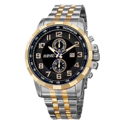 August Steiner Men's Swiss Quartz Multifunction Tachymeter Stainless Steel Two-Tone Bracelet Watch