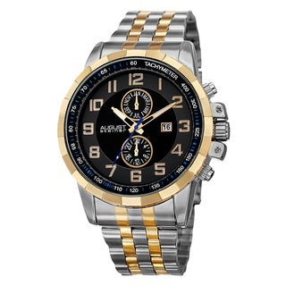 August Steiner Men's Swiss Quartz Multifunction Tachymeter Stainless Steel Two-Tone Bracelet Watch with FREE GIFT