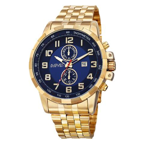 August Steiner Men's Swiss Quartz Multifunction Tachymeter Stainless Steel Gold-Tone Bracelet Watch