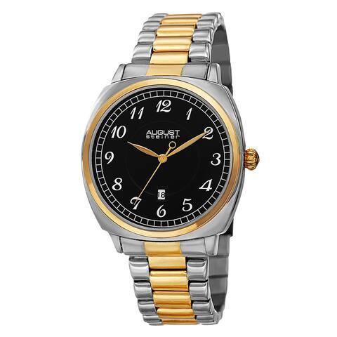 August Steiner Men's Swiss Quartz Arabic Numerals Stainless Steel Two-Tone Bracelet Watch