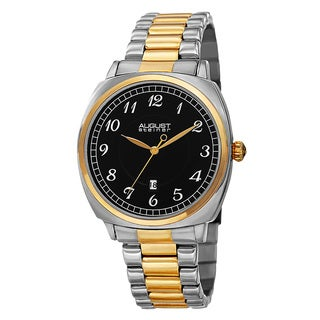 August Steiner Men's Swiss Quartz Arabic Numerals Stainless Steel Two-Tone Bracelet Watch