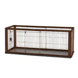 Richell Brown Plastic/Wood Expandable Pet Crate with Floor Tray