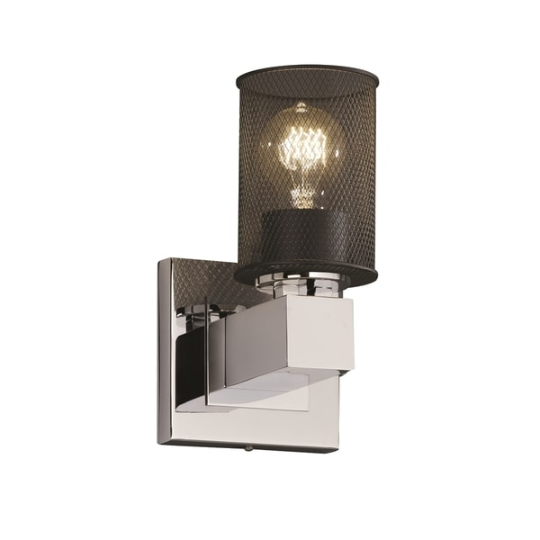 Justice Design Group Wire Mesh Aero 1-light Polished Chrome Wall Sconce Cylinder -  sc 1 st  Overstock.com & Shop Justice Design Group Wire Mesh Aero 1-light Polished Chrome ...
