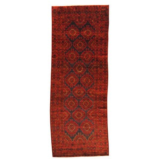 Herat Oriental Afghan Hand-knotted Semi-antique Tribal Balouchi Red/ Navy Wool Rug (4'9 x 12'10)