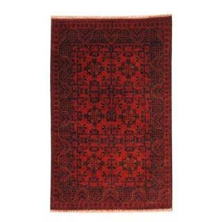 Herat Oriental Afghan Hand-knotted Tribal Khal Mohammadi Wool Rug (4' x 6'4)