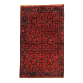 Herat Oriental Afghan Hand-knotted Tribal Khal Mohammadi Red/ Navy Wool Rug (4'1 x 6'8)