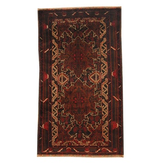 Herat Oriental Afghan Hand-knotted Semi-antique Tribal Balouchi Black/ Red Wool Rug (3'5 x 6'1)