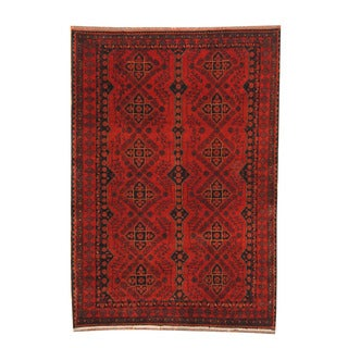 Herat Oriental Afghan Hand-knotted Tribal Khal Mohammadi Red/ Black Wool Rug (4'5 x 6'5)