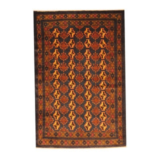 Herat Oriental Afghan Hand-knotted Semi-antique Tribal Balouchi Brown/ Beige Wool Rug (3'11 x 5'10)