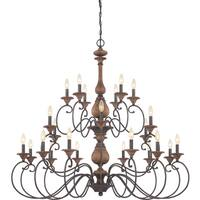 Quoizel Auburn Rustic Black 24-light Three Tier Chandelier
