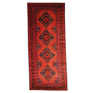 Herat Oriental Afghan Hand-knotted Semi-antique Tribal Balouchi Red/ Black Wool Rug (4'8 x 10'11)