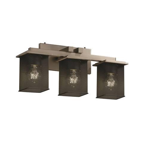 Justice Design Wire Mesh Montana 3-light Brushed Nickel Bath Bar, Square - Flat Rim Shade - Silver - Brushed Nickel