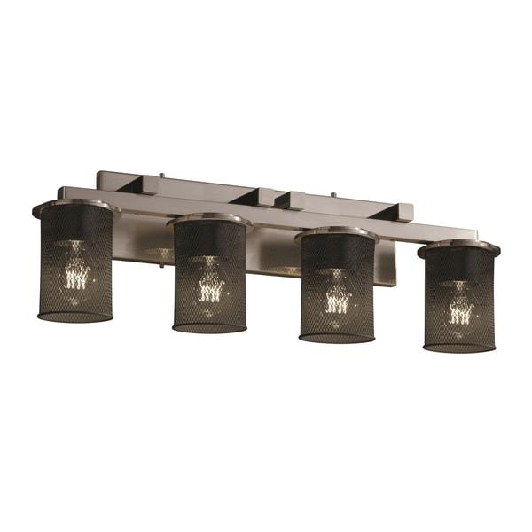 Justice Design Group Wire Mesh Dakota 4-light Brushed Nickel Bath Bar, Cylinder - Flat Rim Shade