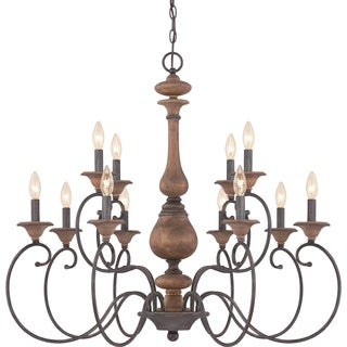 Quoizel Auburn Two Tier Chandelier 12-light Rustic Black Finish