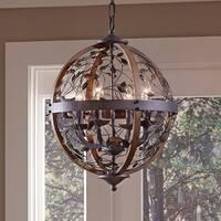 Quoizel Chamber 4-light Darkest Bronze Cage Chandelier