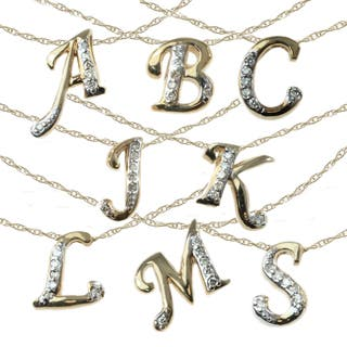 Michael Valitutti 10k Yellow and White Gold Initial Pendant https://ak1.ostkcdn.com/images/products/10041680/P17186630.jpg?impolicy=medium