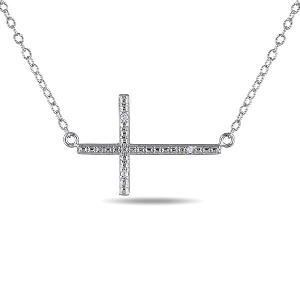 Miadora Sterling Silver Diamond Accent Sideways Cross Necklace