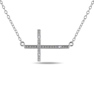 Miadora Sterling Silver Diamond Accent Sideways Cross Necklace