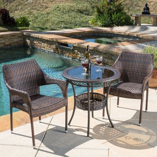 Mirage Outdoor 3-piece Wicker Bistro Set by Christopher Knight Home