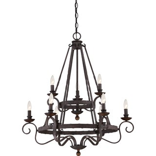 Noble Rustic Black Two Tier 9-light Chandelier