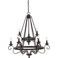 Quoizel Noble Rustic Black Two Tier 9-light Chandelier