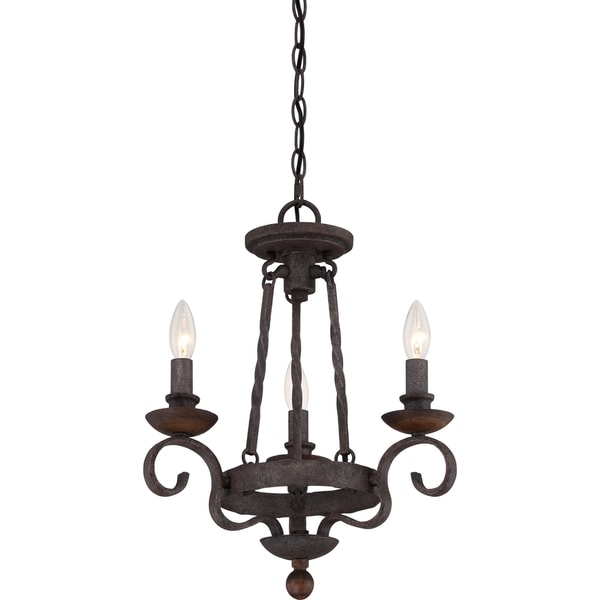 Quoizel Noble Rustic Black 3 light Chandelier Free