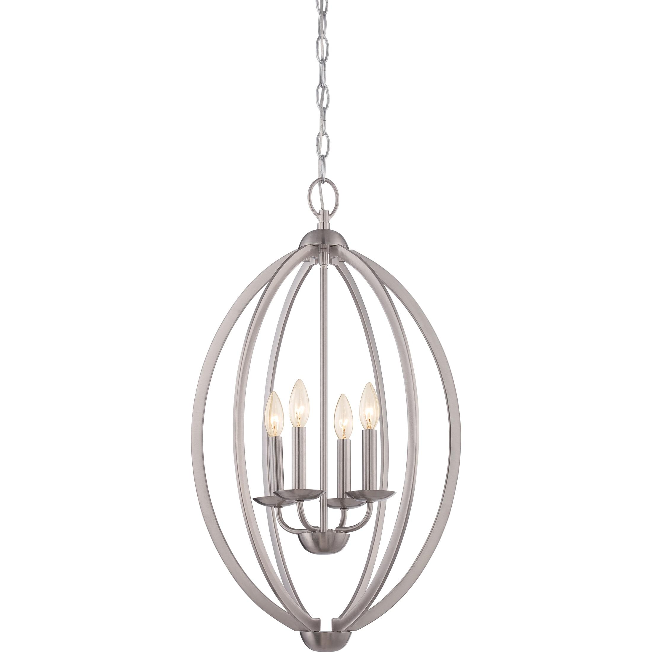Shop Quoizel Fixture Revolution Brushed Nickel 4 Light Cage Chandelier Overstock 10041761