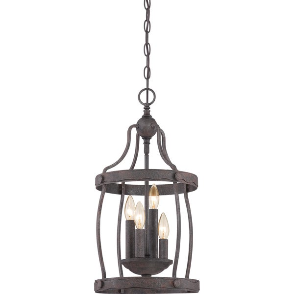Foyer Caged Chandelier : Quoizel fixture woodrow rustic black light cage
