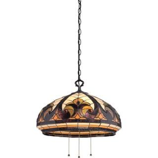 Tiffany-style - Villa Garden 3-Light Vintage Bronze Pendant