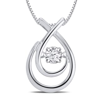 Divina Sterling Silver 1/10ct TDW Dancing Diamond Fashion Teardrop Necklace