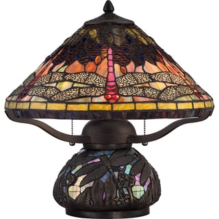 Tiffany-style Copperfly Imperial Bronze Finish 2-light Table Lamp