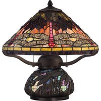 Quoizel Tiffany-style Copperfly Imperial Bronze Finish 2-light Table Lamp