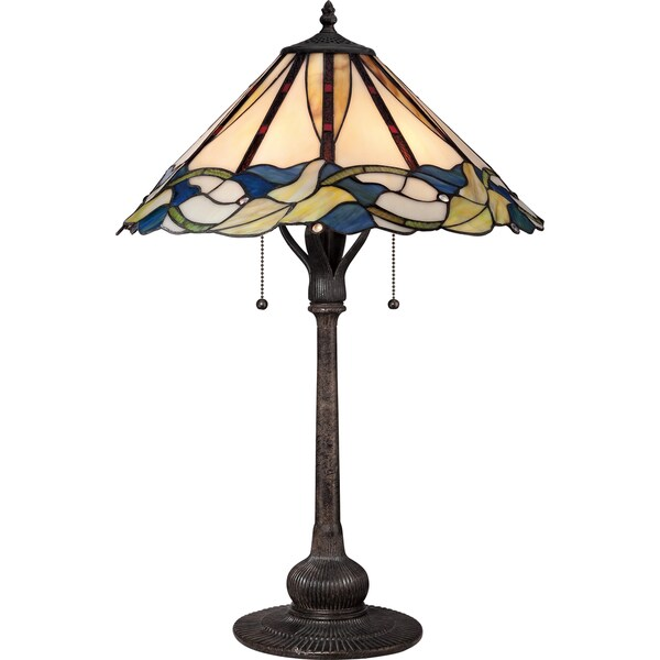 Quoizel Tiffany-style Palmetto Imperial Bronze Finish 2-light Table Lamp