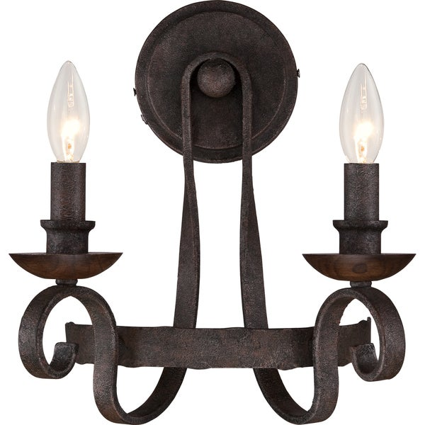 Shop Quoizel Noble Rustic Black TwoLight Wall Sconce Free - Two light bathroom sconce