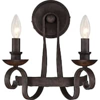 Quoizel Noble Rustic Black Two-Light Wall Sconce