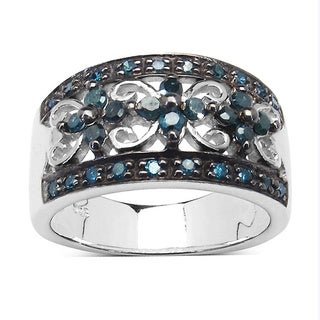 Malaika 0.54 Carat Genuine Blue Diamond Sterling Silver Ring