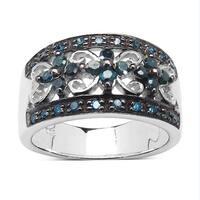 Malaika 0.54 Carat Genuine Blue Diamond Sterling Silver Ring