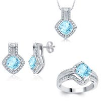 Divina Silverplated Brass Blue Topaz Earrings, Ring and Pendant Set