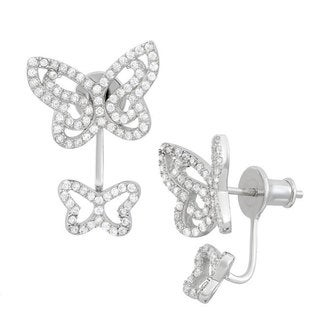 Sterling Silver Cubic Zirconia Double Butterfly Behind-the-Ear Stud Earrings