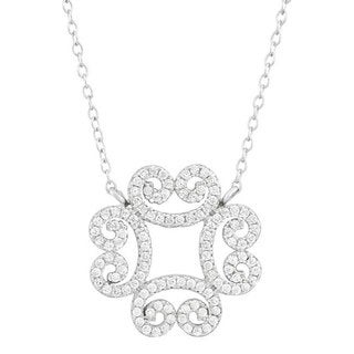 Sterling Silver Cubic Zirconia Filigree Clover Necklace